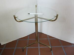 """MID CENTURY SIDE TABLE 3 LEGS METAL GLASS TOP GOLD TONE 19.5""""T atomic Jet-son's"""