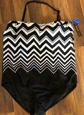 NWT Tropiculture One Piece Swim Suit Black White Zig Zag Stripe Halter Size 24W