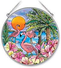 "Flamingo Bay Sun Catcher AMIA Hand Painted Glass 6 1/2"" Round Beach Palm Trees"