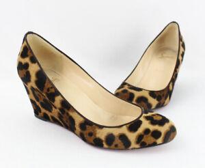 Christian Louboutin Brown Black Animal Print Pony Hair Wedge Heel Shoe 38 US 8