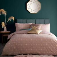Blush Duvet Covers Bee Deco Pink Art Deco Gold Quilt Cover Bedding Sets by furn.