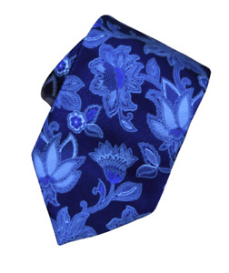 Ermenegildo Zegna Blue Floral 100% Silk Tie Paisley Made in Italy XL Long
