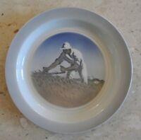Royal Copenhagen Porcelain Bowl with Harvester # 3614 White Plate