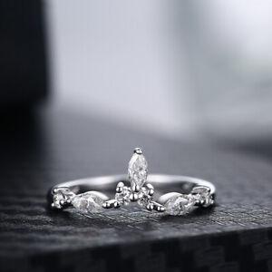 10K White Gold Marquise & Round Cut New Hot Handmade Jewellery Moissanite Ring