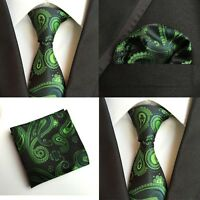 Men Modish Green Paisley Black Silk Neck Tie Hanky Pocket Square Set Lot HZ104