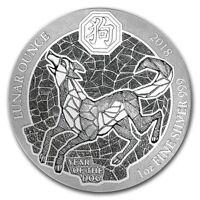 YEAR OF THE DOG- RWANDA LUNAR OUNCE - 2018 1 oz Silver Coin - Sealed