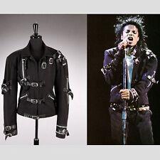 Michael Jackson classic clothing BAD TOUR Black Rivet Punk Jacket Outerwear