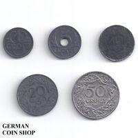Generalgouvernement Polen - Set 1 Grosz, 5, 10, 20, 50 Groszy 1923 1938 1939