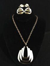 Vintage Signed CROWN TRIFARI White Enamel Pendant Necklace Earrings Demi Parure!
