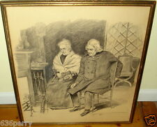 J. Campbell Phillips Signed Original Pencil Figure Drawing Listed Artist c1920's