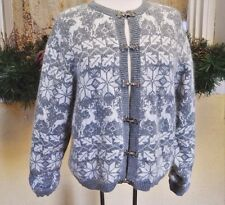 Croft Barrow Nordic Snowflake Deer Sweater L Gray Classic Fun Heavy Wear w/Jeans