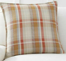 "Pottery barn Pumpkin Plaid Pillow Cover, 20"" NEW"