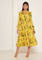 Ted Baker ELISSEA Savanna Midi dress RRP £229 Size 1 UK 8 Floral Yellow Ruffle