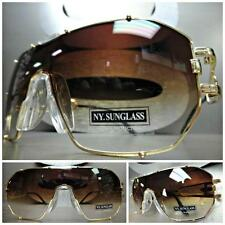 HUGE OVERSIZE VINTAGE RETRO SHIELD Style SUN GLASSES Gold Frame Brown Clear Lens