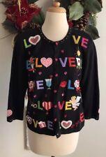 Jack B. Quick Cardigan Sweater Valentine Details Love Sequins Size Medium