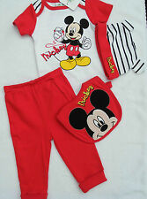 Disney Mickey Mouse 4 Piece Gift Set Bodysuit Trousers Hat & Bib Age 6-9 Months