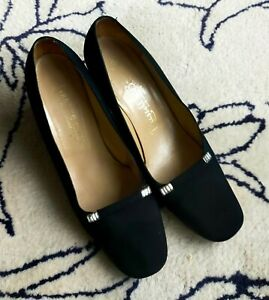 Bruno Magli Russell & Bromley Vintage Black Cocktail Silk Shoes 60s 70s Size 6