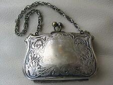 Antique Victorian Art Nouveau Floral German Silver Card Case Compact Clam Purse