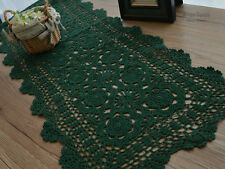 "70"" Cotton Hand Crochet Dark Green Table Runner 15"" wide"