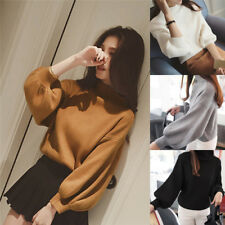 Women's Sweaters Fashion Turtleneck Long Sleeve Pullovers Loose Knitted Sweaters