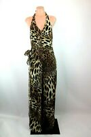Cache Leopard Print Chiffon Jumpsuit Halter Wide Leg Evening USA MADE VTG 90s 4