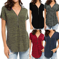 Women V Neck Blouse Tee Shirt Short Sleeve T-shirts Casual Zipper Tops Plus Size