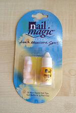 Nail Magic peach 20no Short Square Nail tips, with glue & nail buffer UK SELLER