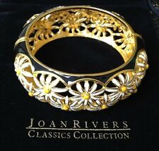 JOAN RIVERS BLACK ENAMEL WITH WHITE AND YELLOW ENAMEL DAISIES HINGED BRACELET