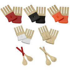 Kyoto Wooden Salad Servers Eco Bamboo Serving Spoon Fork Food Pasta Cutlery Set
