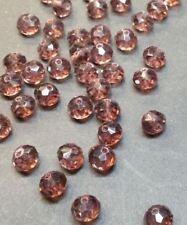 20 perles 8x6mm à facettes en verre violet //5