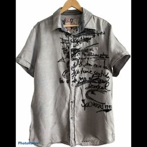 Desigual Men's Linen Embroidered Graphic Button Up Shirt - COOL! - large