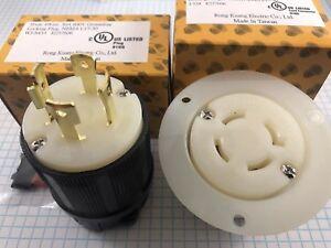 NEMA L17-30 PLUG & FLANGED OUTLET, 3 Pole, 4 Wire, 30A, 600V, UL listed.