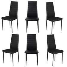 BLACK DINING CHAIRS SEAT IRON LEGS FAUX LEATHER DINNING FURNITURE SET 6 With PAD