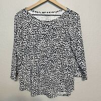 Chico's Women's 2 = L Ultimate Tee 3/4 Sleeve Blouse 100% Cotton Top Petal Print