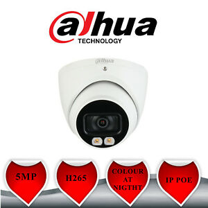 5MP IP POE DAHUA TURRET CAM FULL COLOUR NIGHT WHITE LIGHT HDW3549TMP-AS-LED2.8MM