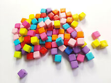 100 x Acrylic Beads - Cube - 8mm - Mixed Colour