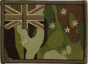 Army Australia National Flag Patch Subdued Multicam SAS, Commando, hook backing.