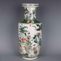 """16.9"""" Collect Chinese Porcelain Famille Rose Personage Stories Wooden Club Vase"""
