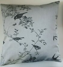 """Shabby Chic Cushion Cover in Jigsaw Silver Embroidered Bird 16"""""""