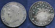 MONETA COIN REPUBLICA BOLIVIANA LIBRE POR LA CONSTITUCION 4 SOLES 1854 ARGENTO