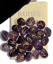 Amethyst Gemstone Runes with Engraved Lettering and Pouch New