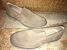 Men's Calvin Klein Slip-On Moccasin Loafers Shoes, Gray Suede Leather - Size 11