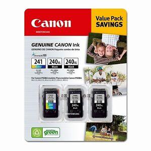3 Pack Genuine OEM Canon 2X PG-240XL Black /1X CL 241XL Color .
