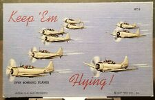 1940's WWII US NAVY SCOUT BOMBER AIRPLANES AC-7 in Formation Vintage Postcard