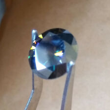 1.01 Ct 7 Mm Dark Peacock Green Blue Round Diamond Cut Real Moissanite For Ring
