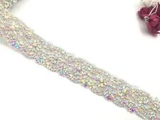 11'' Inches Wedding Dresses Belts Crystal Rhinestone Pearl Bridal Sash Silver Ab