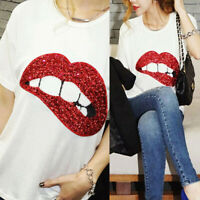 Women Sequin Lip Print Blouses Ladies Girls Short Sleeve T-Shirt Casual Tee Top