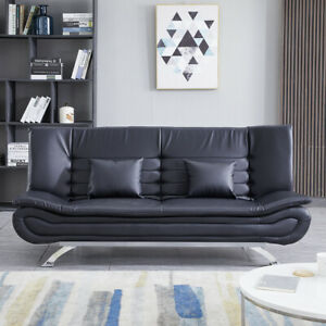 Luxury PU Leather Upholstered 3 Seater Sofa Bed Recliner Double Sleeper Sofabed