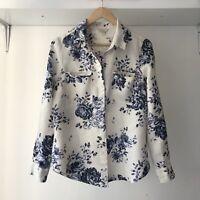 Monsoon Floral Linen Blouse Top, AU Size 10