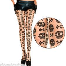 Sheer Beige Black Sugar Skull Pattern Day of the Dead Halloween Panythose Tights